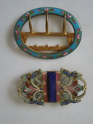 2 VERY PRETTY  VINTAGE  BUCKLES   - ONE ENAMEL AND ONE WITH STONES  - No. 8