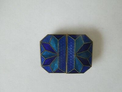 VINTAGE  BLUE ENAMEL ART DECO BUCKLE  - No. 10