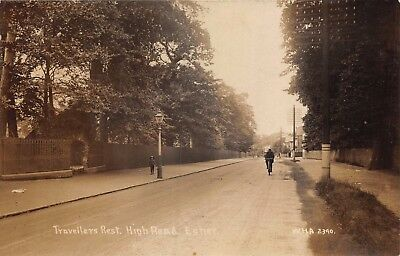 Surrey Esher High Road Travellers Rest Boy By Lamp Post Photo Card