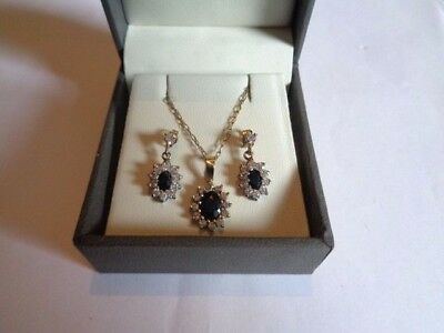 "9ct YELLOW GOLD SAPPHIRE & CZ CLUSTER EARRING & PENDANT SET 20"" LONG UK HALLMARK"