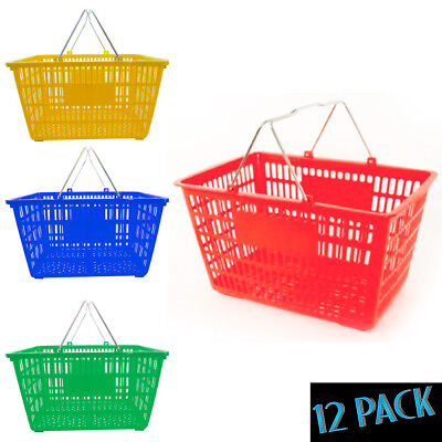 New Jumbo 12 Standard Shopping Baskets Chrome Handles Plastic Grocery Store Eco