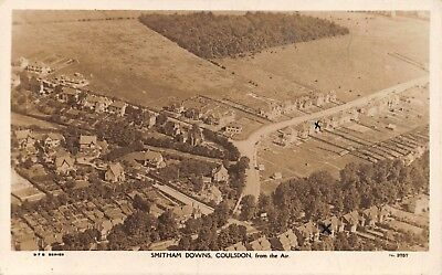 Surrey Coulsdon Smitham Downs From The Air Houses & Fields Photo Card