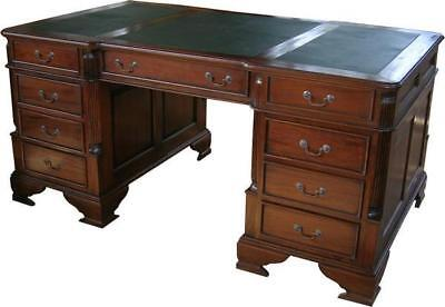 Home Office Large Mahogany Partners Desk Georgian Reproduction Fluted Pillars