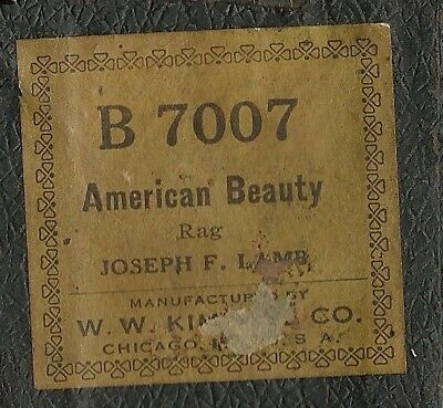 American Beauty Rag, Joseph F Lamb, Kimball B 7007 Piano Roll Original