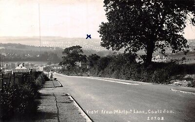 Surrey Coulsdon Marlpit Lane View Down Hill Lady & Dog Walk Photo Card