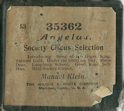Society Circus Selection, Manuel Klein 65 Note Angelus 35362 Piano Roll Original