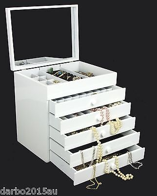 WOODEN JEWELLERY BOX Large White Gift Storage New Earring Organiser Case Mirror