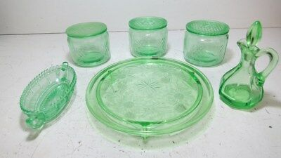VASELINE Uranium Depression Green Glass Bundle-Cruet, Plate, Lidded Jars
