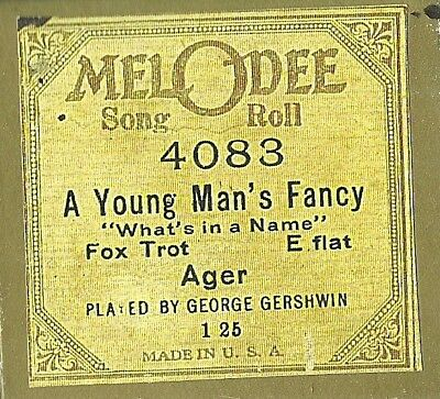A Young Man's Fancy Played by George Gershwin, MelODee 4083 Piano Roll recut