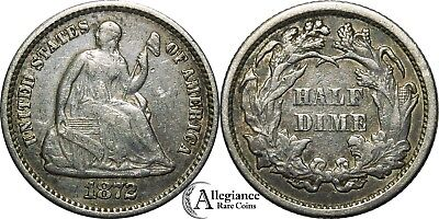 1872 H10c Seated Liberty Half Dime VF rare old type coin original old money!