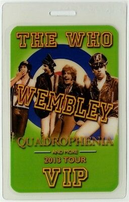 The Who authentic 2013 Laminated Backstage Pass Quadrophenia Tour Wembley VIP