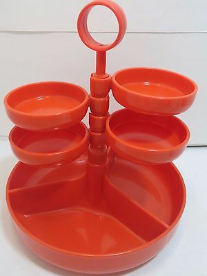 Vintage Rotating Party Snacks Orange Server Food Tray Dialene Better Maid 1970s