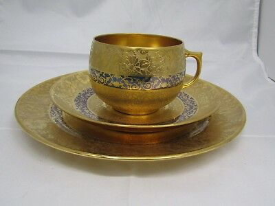 Limoges France 3 Pieces Set Heavy Gold & Blue Cup Saucer & Plate