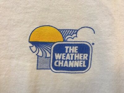 Vintage 1980s The Weather Channel Mens XL White Logo T-Shirt