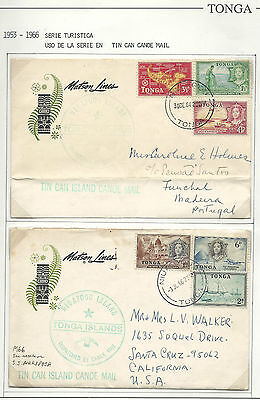 Tonga: 2 Covers with stamps of set year 1953-1966. Tour Series. TG132