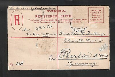 Tonga: Postal Stationery to New Zealand by German ship.but not stamps. TG107