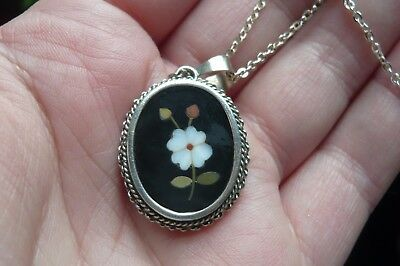 Vintage Pietra Dura Pendant with Chain