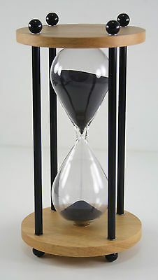 DECOR 10 MINUTE Black SAND TIMER Hourglass wood Gift