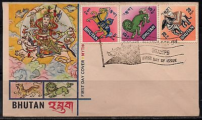bhutan 4 fdc mythology 1968   b4