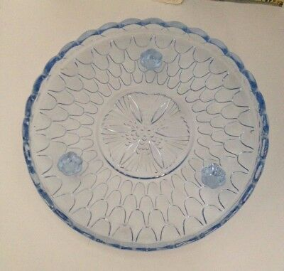 Vintage pale blue glass dish/cake plate - approx diameter 24 cm
