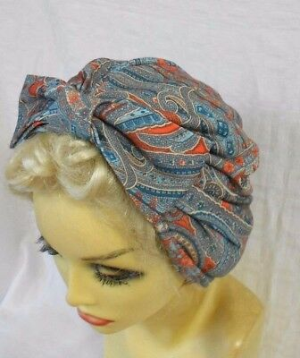 VINTAGE INSPIRED 1940's 1950's STYLE PAISLEY TURBAN HAT
