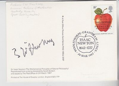 Gb Stamps Phq Card Isaac Newton Signed Printed By Scientist Stephen Hawking