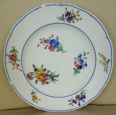 18th Century Floral Sevres Porcelain Plate Signed FF and Dated 1790