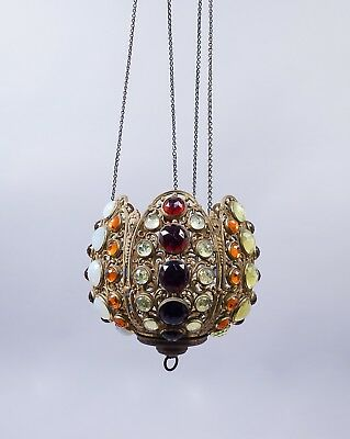 Antique 19c Jeweled Victorian Brass Filigree Candle Fixture Lamp for Restoration