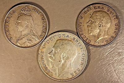 Great Britain Silver Coin Lot of 2 Florins & 1/2 Crown  ** FREE U.S SHIPPING **