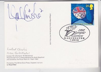 Gb Stamps Sports Phq Card Signed By 100M Gold Medalist Linford Christie