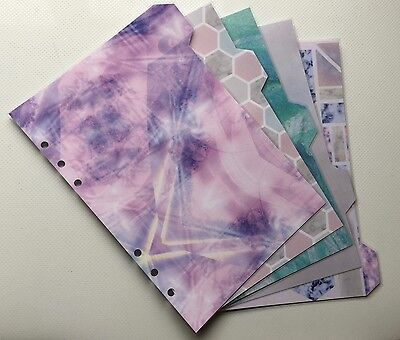 Filofax A5 Organiser Planner - Beautiful Marble Effect Dividers - Laminated