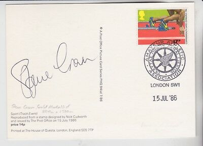 Gb Stamps Sports Phq Card Signed By 800M & 1500M Gold Medalist Steve Cram