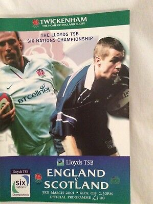 England v Scotland Six Nations rugby programme 2001