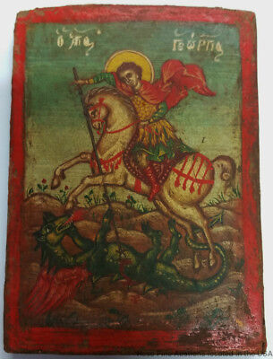 Antique 4inH St George Dragon Orthodox Russian Greek Christian Icon Painting