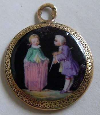 FABERGE Antique Imperial RUSSIAN Pendant with Enamel, 56 Solid Gold.