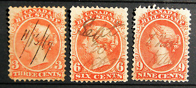 1865 threesome of CANADA Bill Stamps; 3, 6 and 9 cents - VGU - see photos