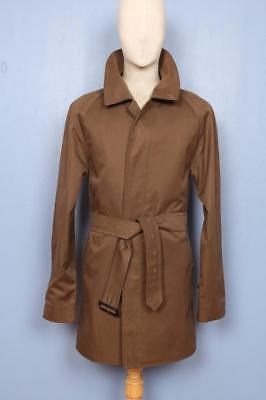 STUNNING Mens BURBERRY Single Breasted Short TRENCH Coat Mac ฺBrown S/M 36/38