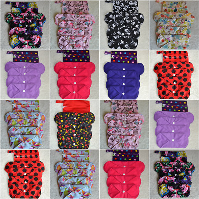 Reusable Charcoal Cloth Menstrual Sanitary Pad Set in 10 Designs FREE P&P!