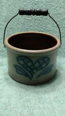 Vintage Buffalo Pottery Co Pot w/ Wire Handle Glazed Blue Heart Design Stoneware