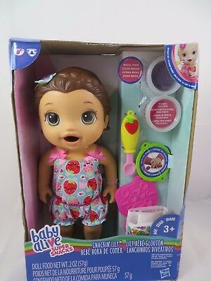 Baby Alive Super Snacks Snackin Lily Doll Brunette Reusable Food Poops Christmas
