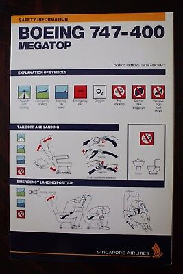 Safety Card Singapore Airlines Boeing 747-400 Megatop Sqa 0425A