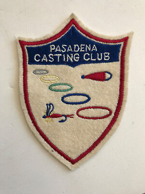 vintage Fishing Patch , PASADENA, California Casting Club Patch Lure & Fly RARE
