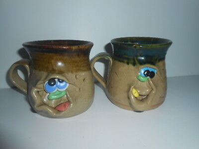 Weller Pottery Funny Face Mug (X2) With Surprise Inside Very Rare 5* See Photos