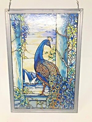Tiffany Glass Panel Stained Glass Peacock Art Nouveu Window