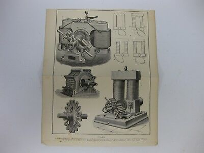 Victorian Antique Encyclopedia Fold out Page Print ELECTRIC DYNAMOS Original