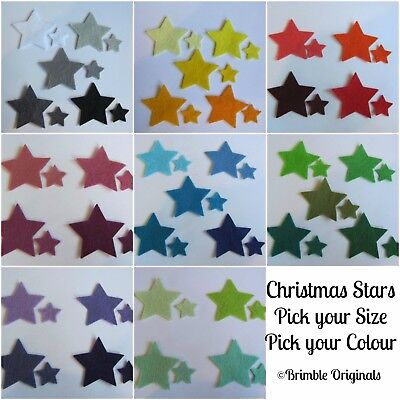 Die Cut Felt Christmas Stars, 39 COLOURS!! Embellishments,Sewing, Applique Craft