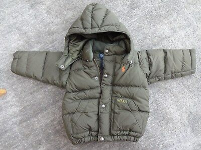 Boys Green Quilted Ralph Lauren Winter Jacket, Size 12M