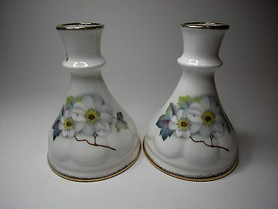 Pair of Vintage Royal Crown Staffordshire Fine Bone China Candle Holders.
