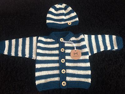 lovely new hand knitted striped baby cardigan/hat/mitts in teal + cream(NEWBORN)