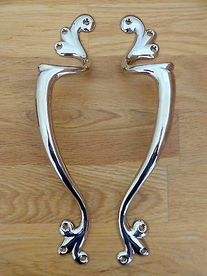 Pair Nickel Plated Art Nouveau Door Pull Handles Knobs Plates